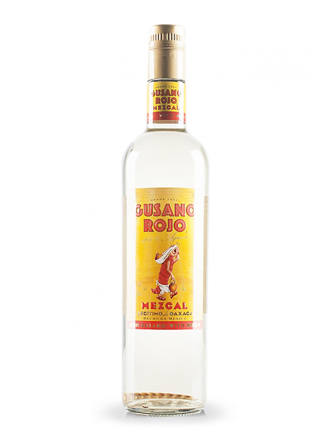 Tequila alba Mezcal Gusano Rojo cu vierme 0.7L, 38% alc., Mexic