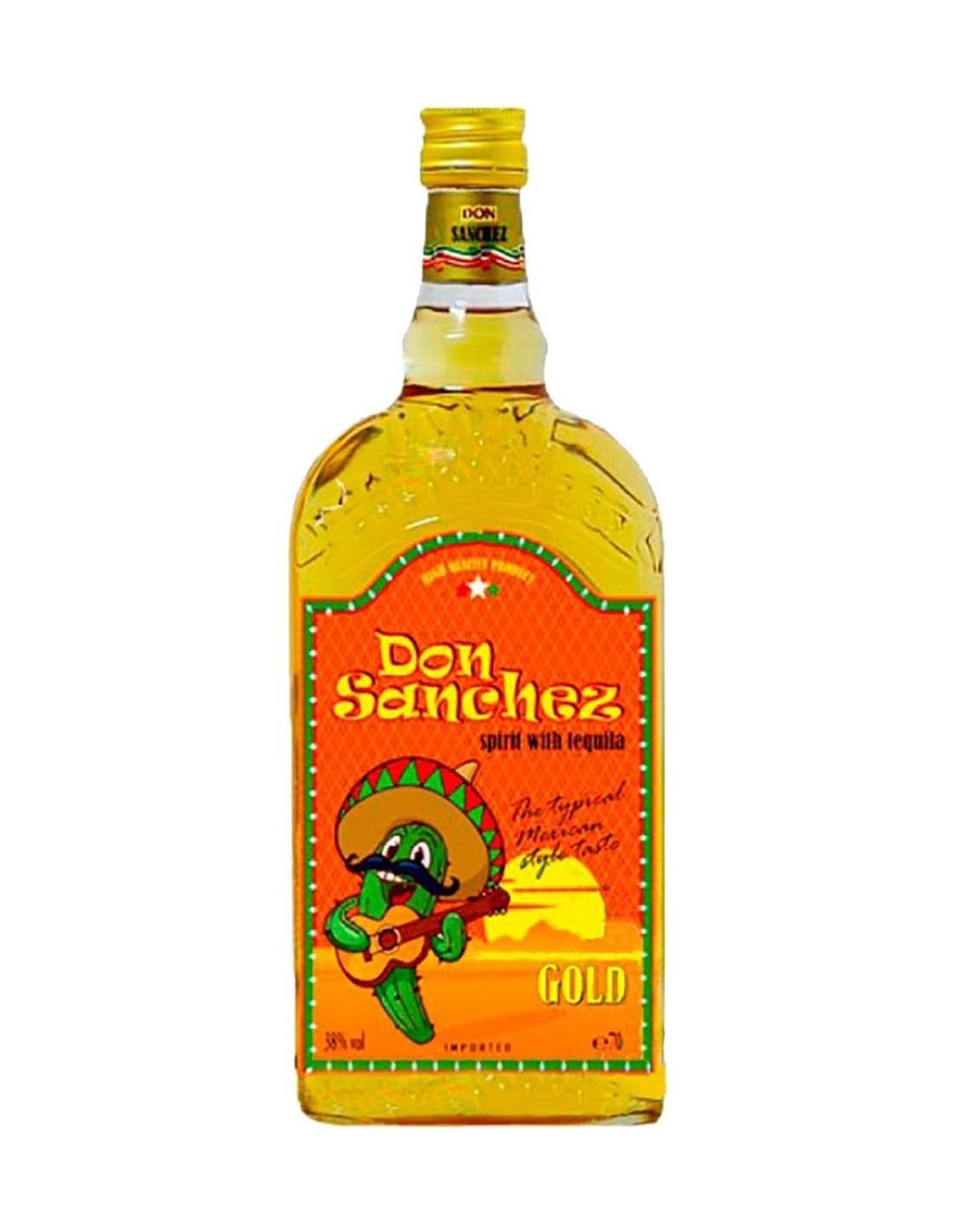 Tequila aurie Don Sanchez Gold 0.7L, 38% alc., Mexic