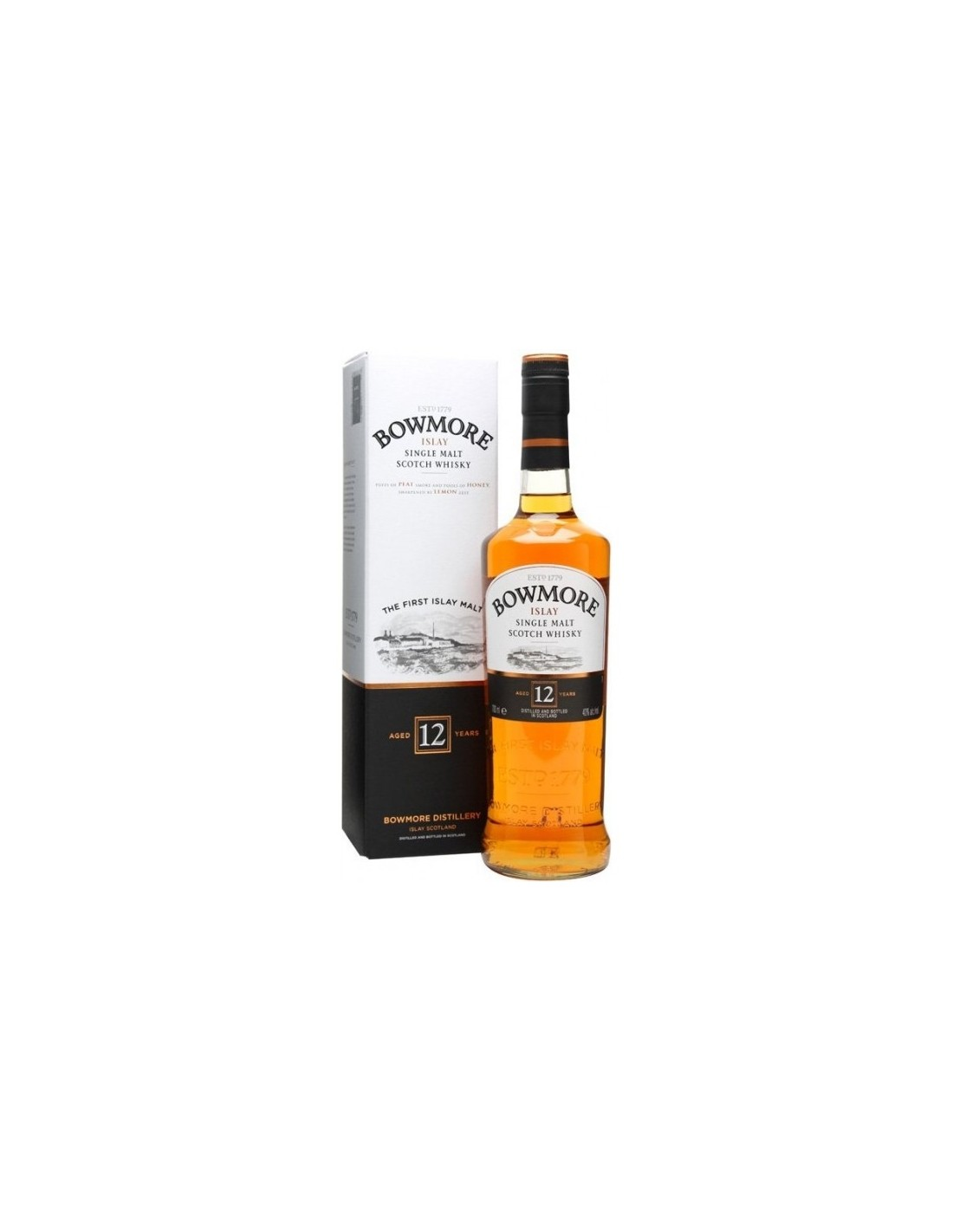 Whisky Single Malt Bowmore, 12 ani, 40% alc., 0.7L, Scotia
