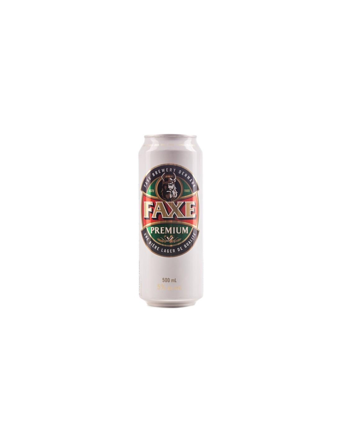 Bere blonda, filtrata Faxe Premium, 5% alc., 0.5L, Danemarca