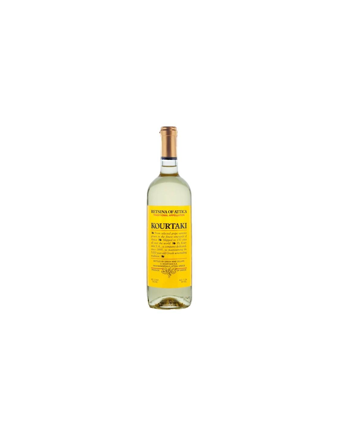 Vin alb, Cupaj, Kourtaki Retsina of Attika, 0.75L, 11.5% alc., Grecia
