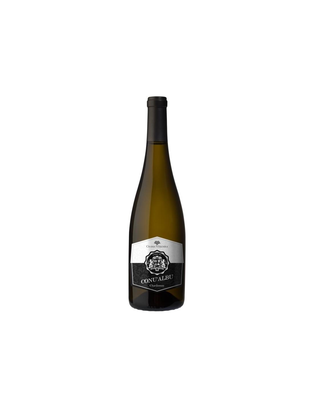Vin alb sec, Chardonnay, Conu' Albu Colinele Dobrogei, 0.75L, 14% alc., Romania