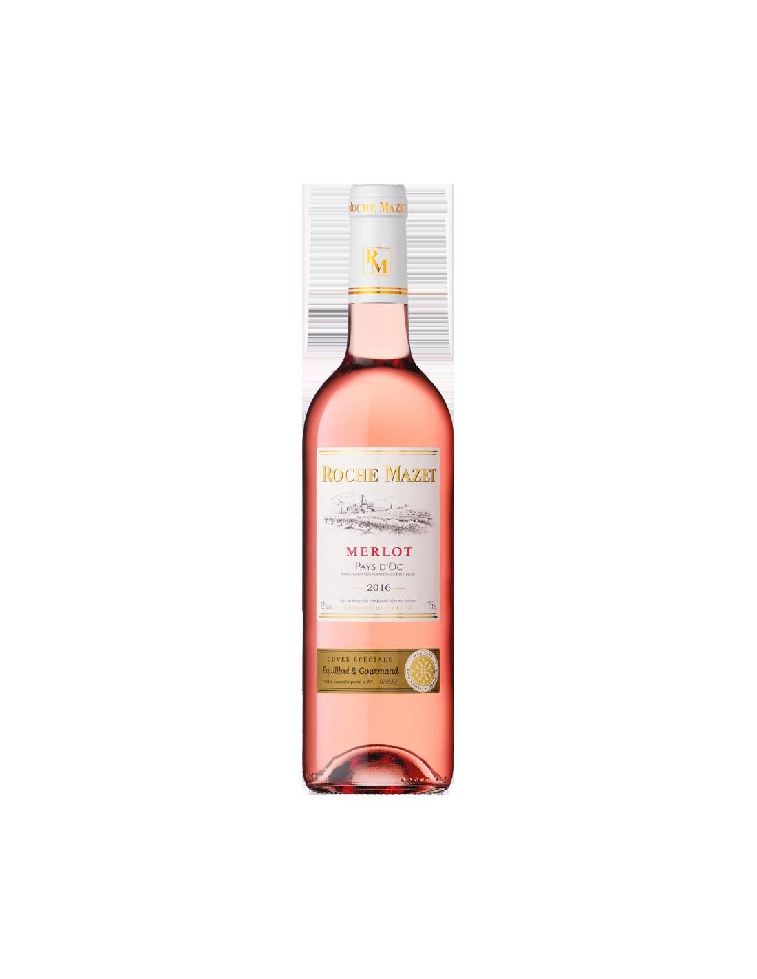 Vin roze, Merlot, Roche Mazet Pays d'Oc, 0.75L, Franta
