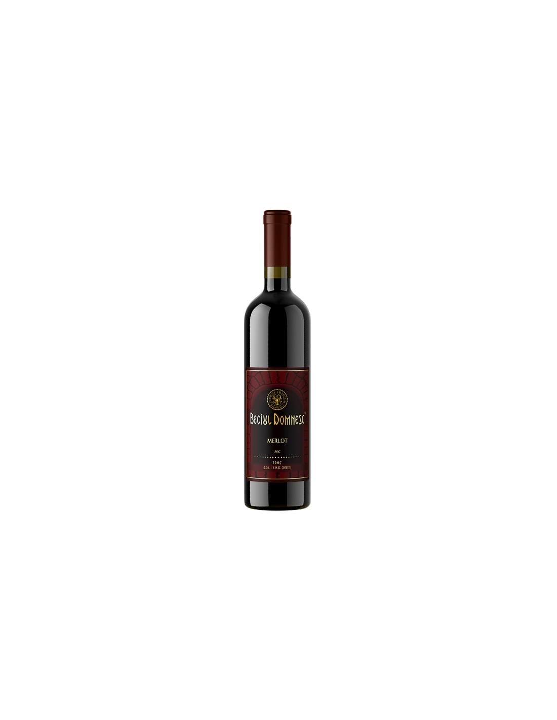 Vin rosu sec, Merlot, Beciul Domnesc Cotesti, 0.75L, 13% alc., Republica Moldova