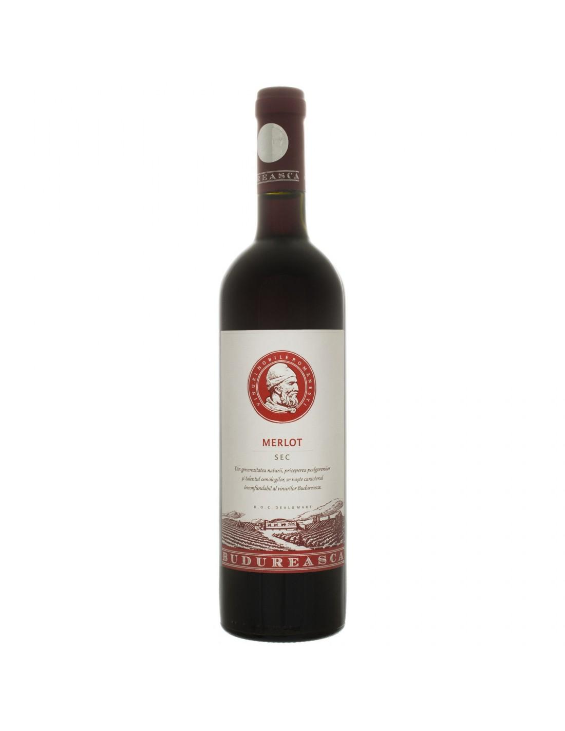 Vin rosu sec, Merlot, Budureasca Dealu Mare, 0.75L, 14% alc., Romania