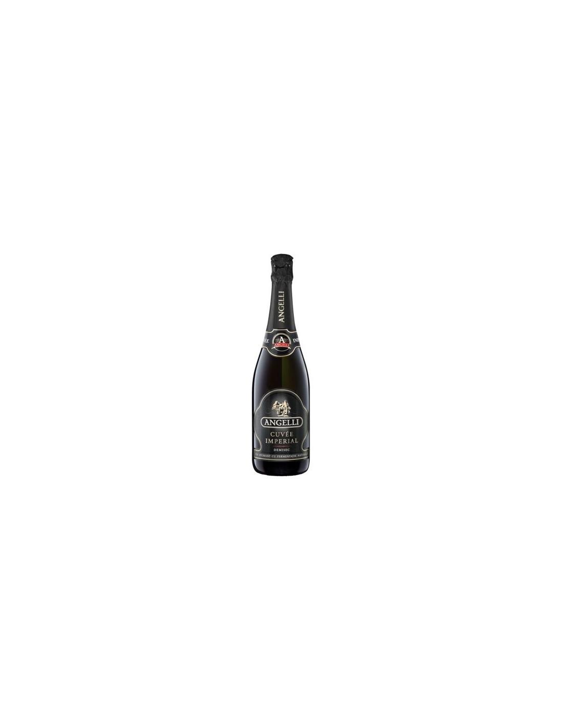 Vin spumant alb demisec, Angelli Cuve Imperial, 0.75L, 11.50% alc., Romania