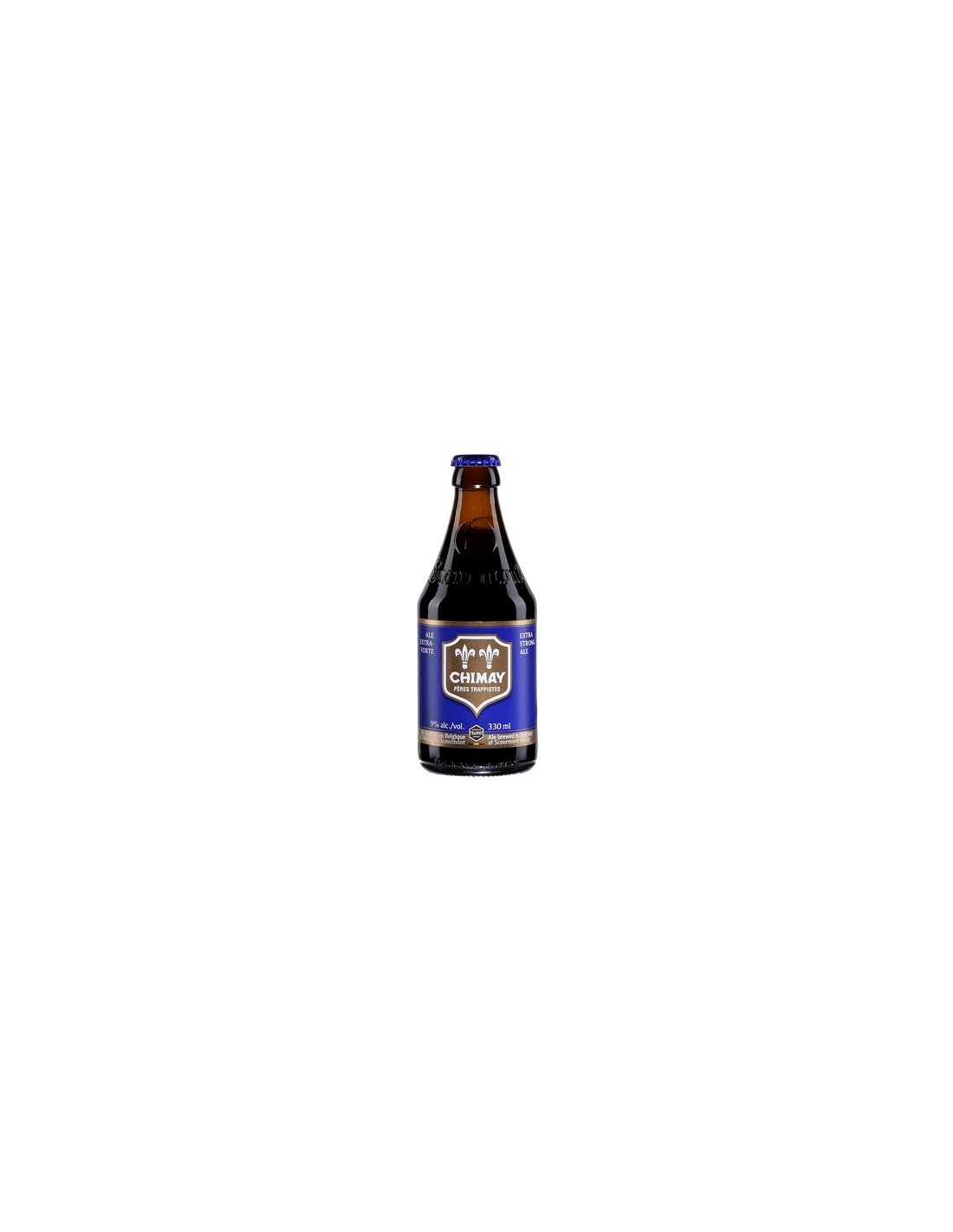 Bere blonda, nefiltrata Chimay Blue, 9% alc., 0.75L, Belgia