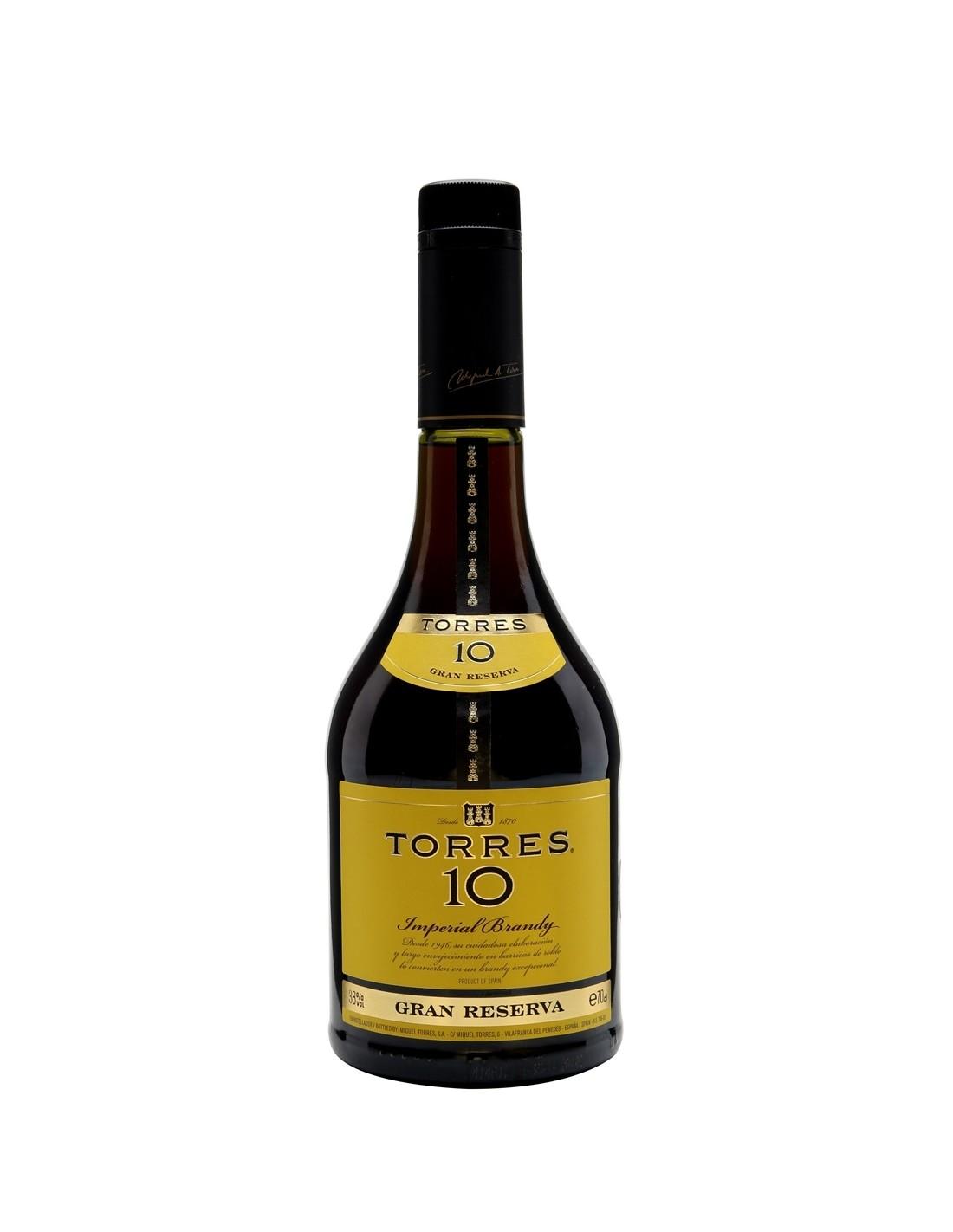 Coniac Brandy Torres 10 Gran Reserva, 38% alc., 0.7L, 10 ani, Spania