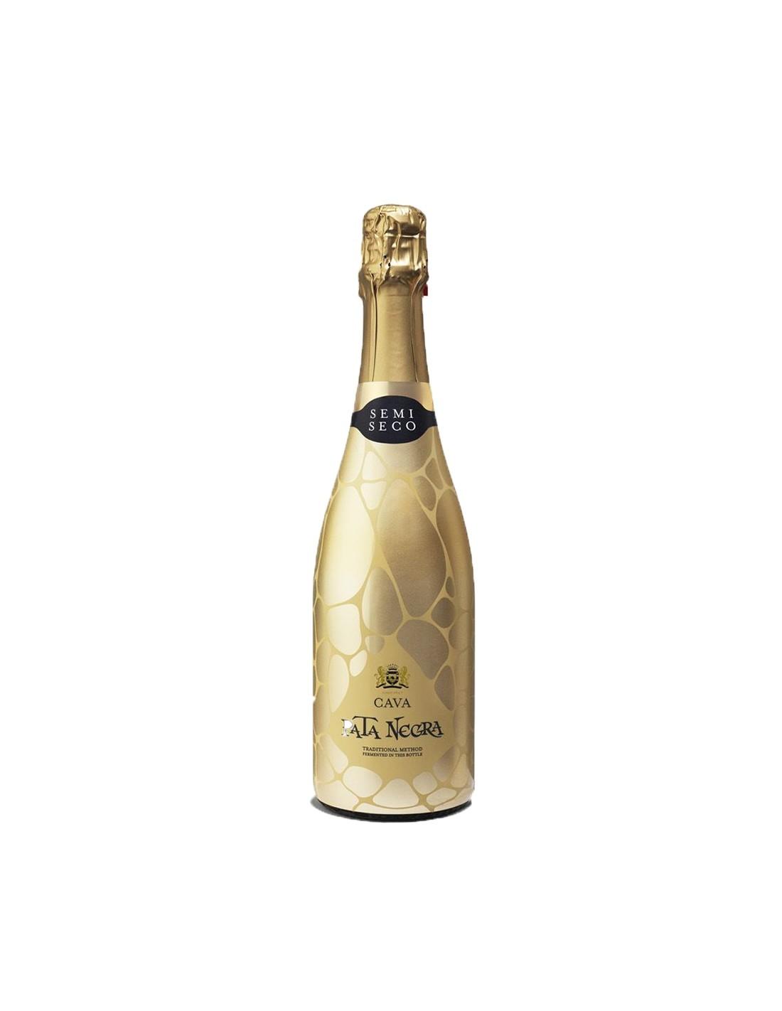Vin spumant alb demisec, Pata Negra Cava, 0.75L, 11.5% alc., Spania