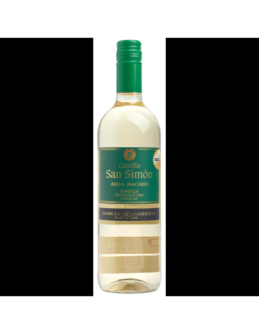 Vin alb, Airen, Castillo San Simon Jumilla, 0.75L, 11% alc., Spania