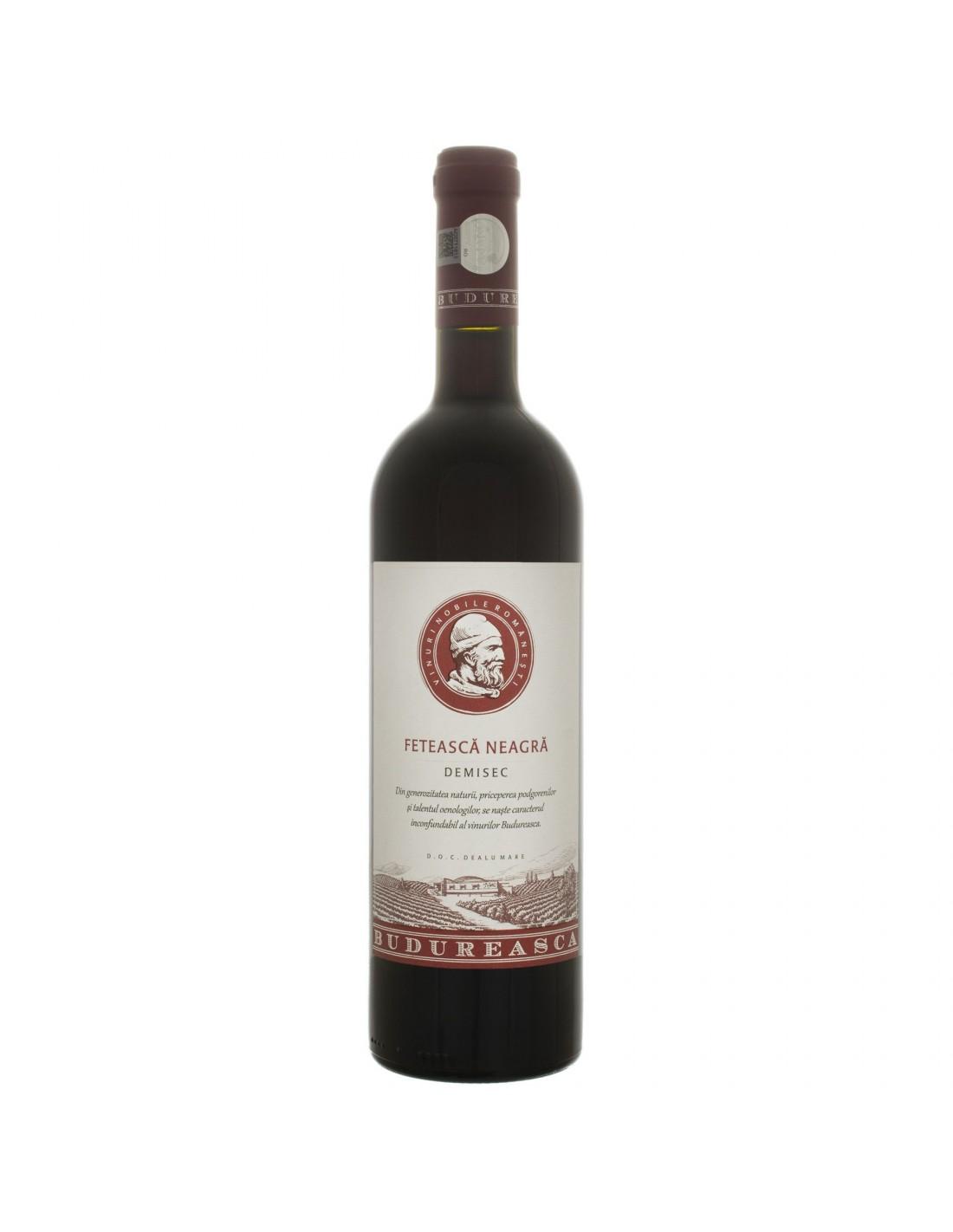 Vin rosu demisec, Feteasca Neagra, Budureasca Dealu Mare, 0.75L, 14.5% alc., Romania