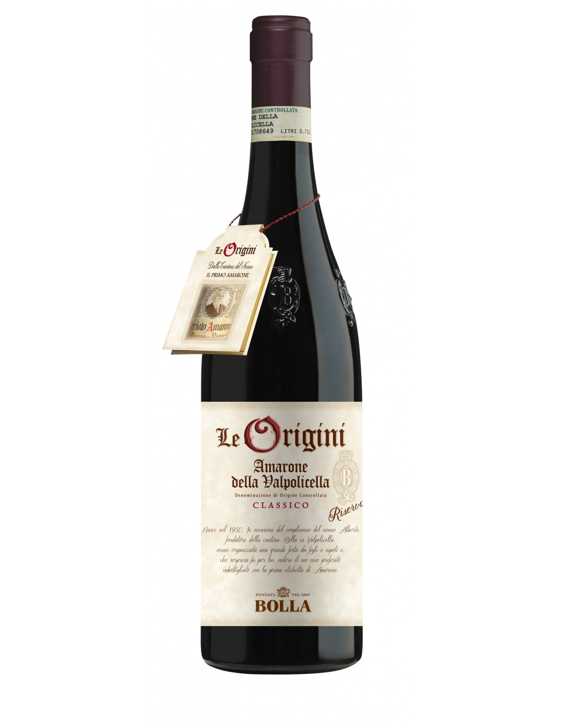 Vin rosu, Cupaj, Bolla Le Origini Amarone della Valpolicella, 1890, 0.75L, 15% alc., Italia
