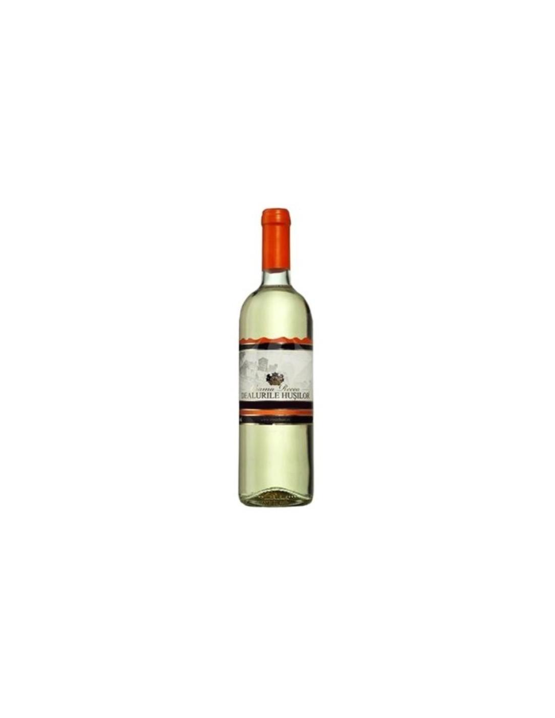 Vin alb demisec, Crama Recas Dealurile Husilor, 0.75L, 10.5% alc., Romania