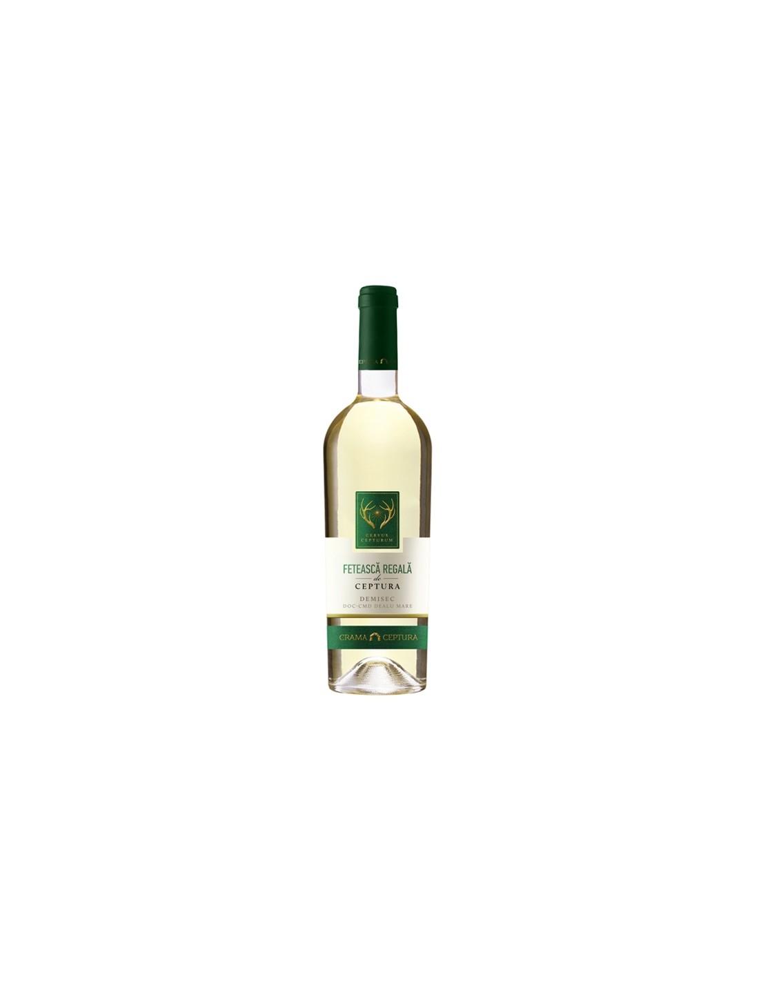Vin alb demisec, Feteasca Regala, Ceptura Muntenia, 0.75L, 12.5% alc., Romania