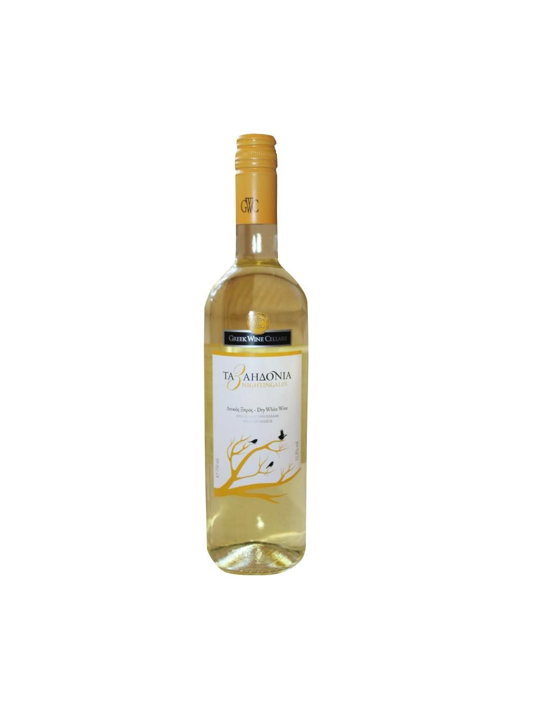 Vin alb sec, 3 Nightingales Nemea, 0.75L, 12% alc., Grecia