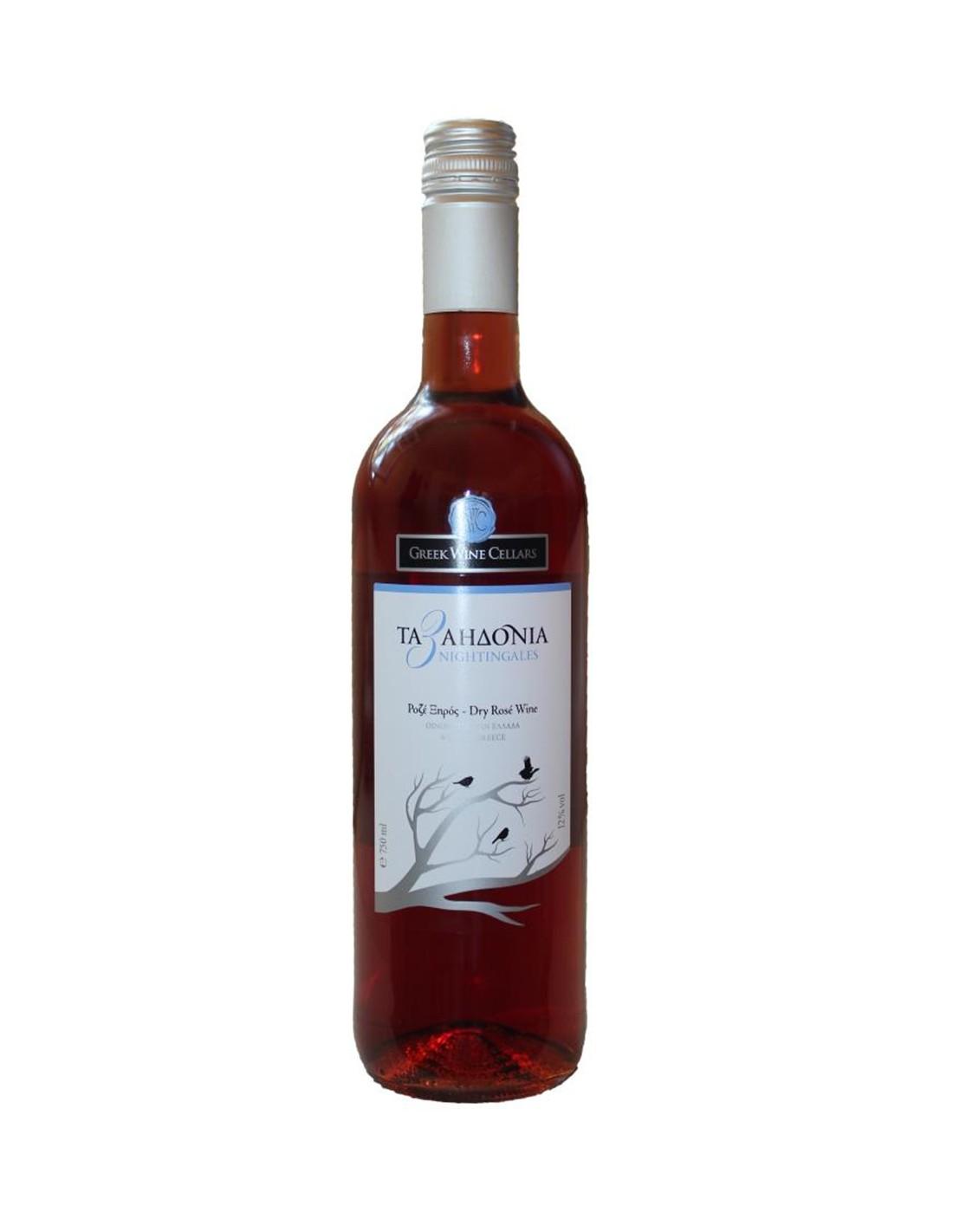 Vin roze Sec, 3 Nightingales Nemea, 0.75L, Grecia