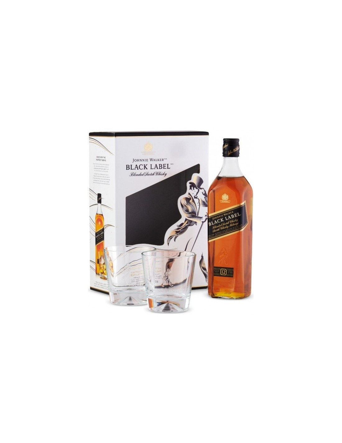 Blended Whisky Johnnie Walker Black Label + 2 Pahare, 12 ani, 40% alc., 0.7L, Scotia