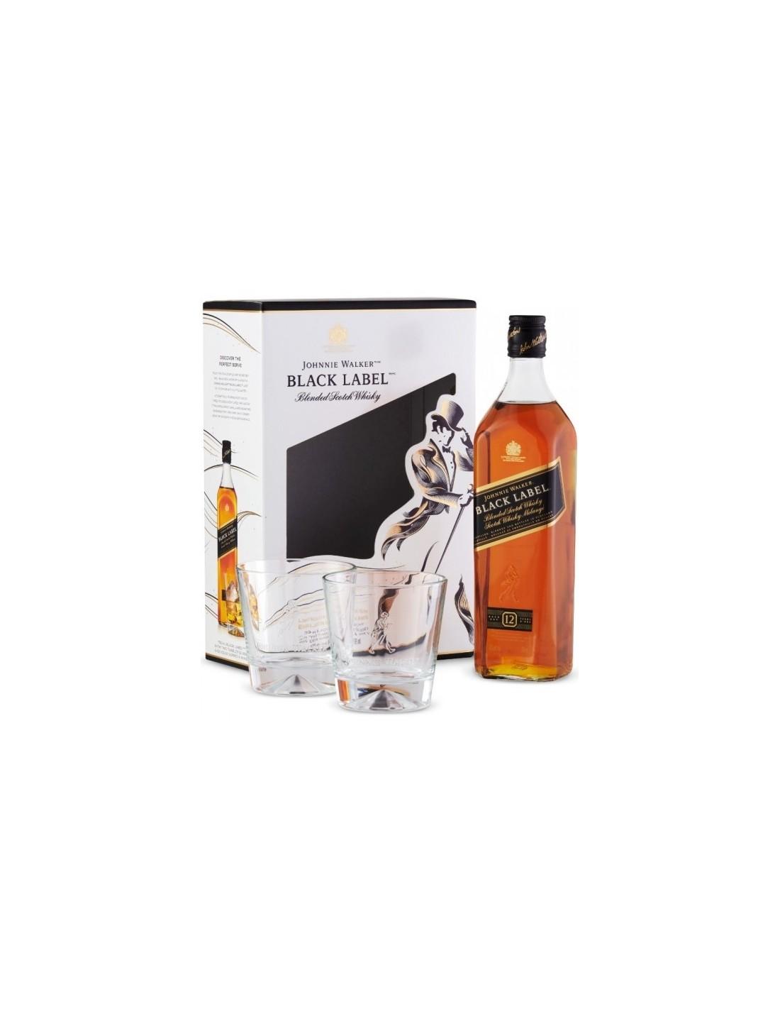 Whisky Johnnie Walker Black Label + 2 Pahare, 12 ani, 40% alc., 0.7L, Scotia