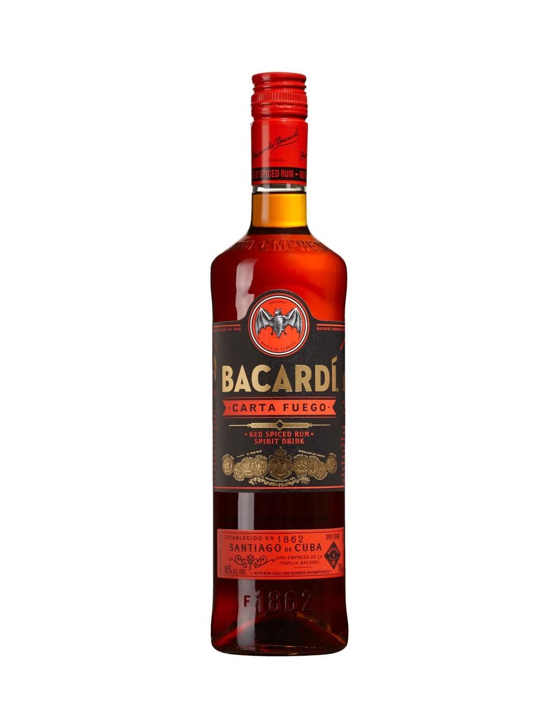 Rom negru Bacardi Carta Fuego, 40% alc., 1L