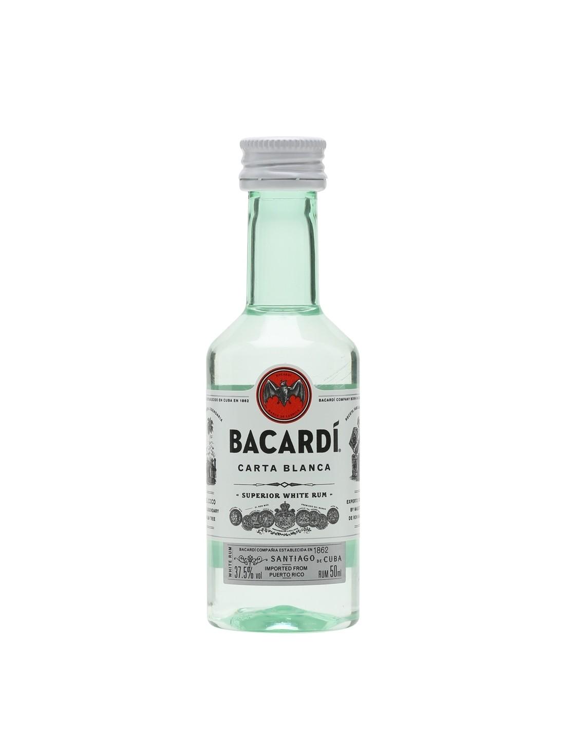 Rom alb Bacardi Carta Blanca, 37.5% alc., 0.05L
