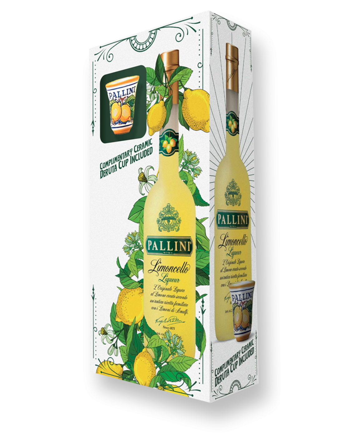 Lichior Pallini Limoncello + pahar, 26% alc., 0.5L, Italia