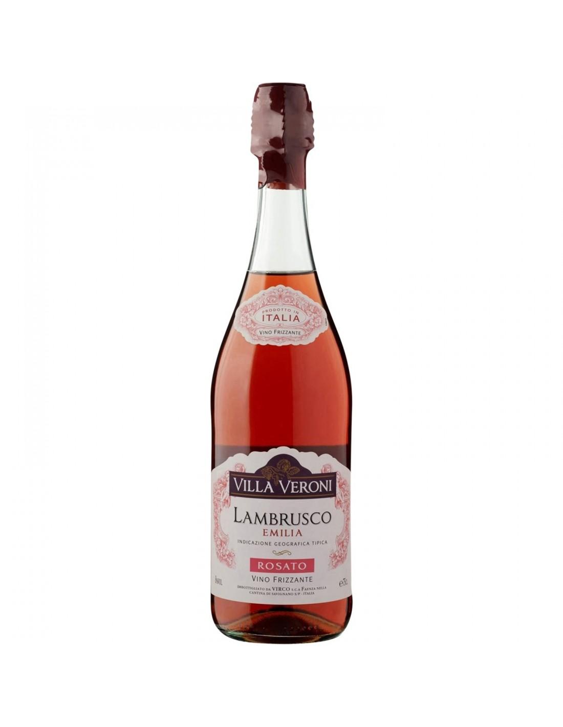 Vin spumos frizzante Lambrusco, Villa Veroni Emilia, 0.75L, 8% alc., Italia