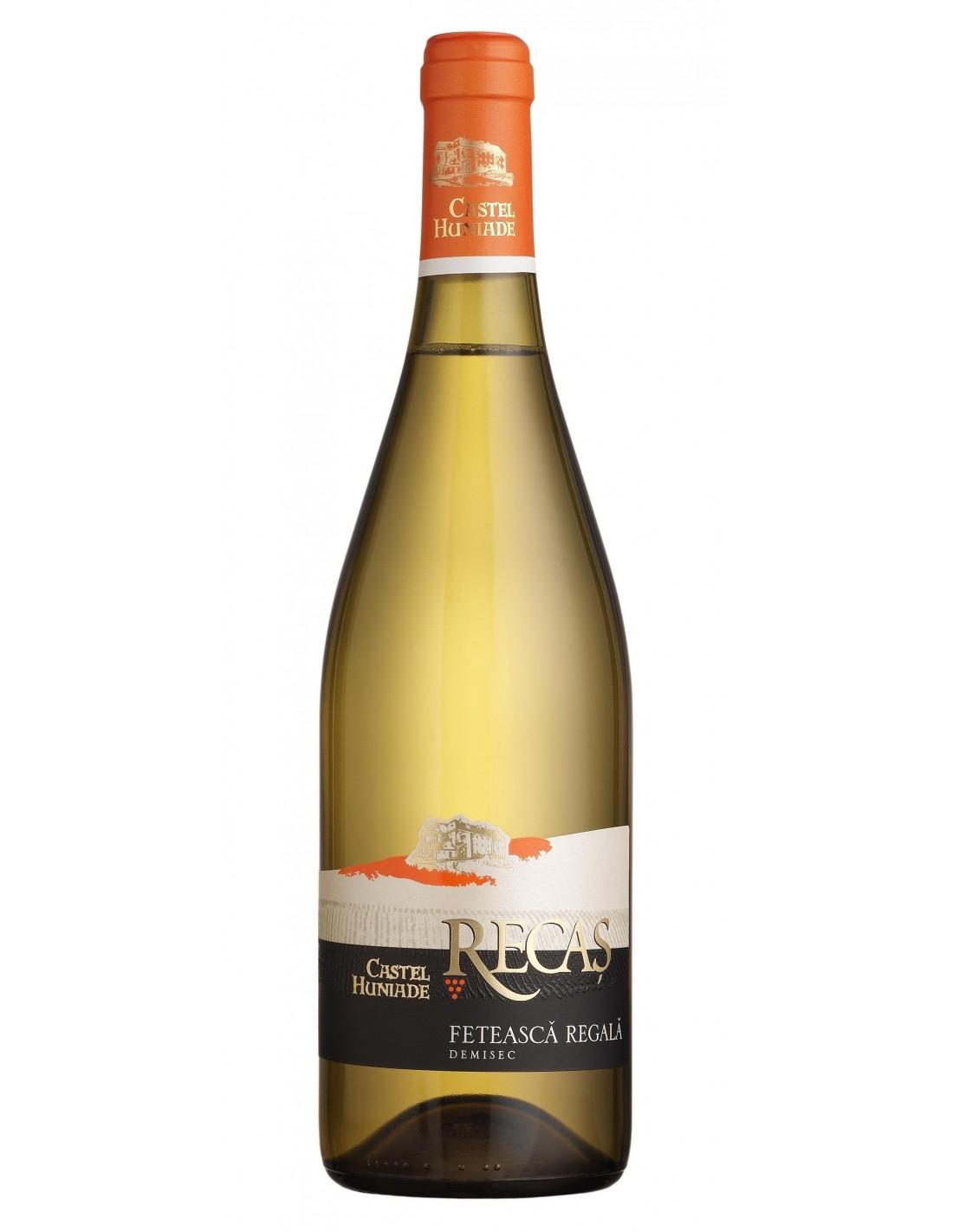 Vin alb demisec, Feteasca Regala, Castel Huniade Recas, 0.75L, 11.5% alc., Romania