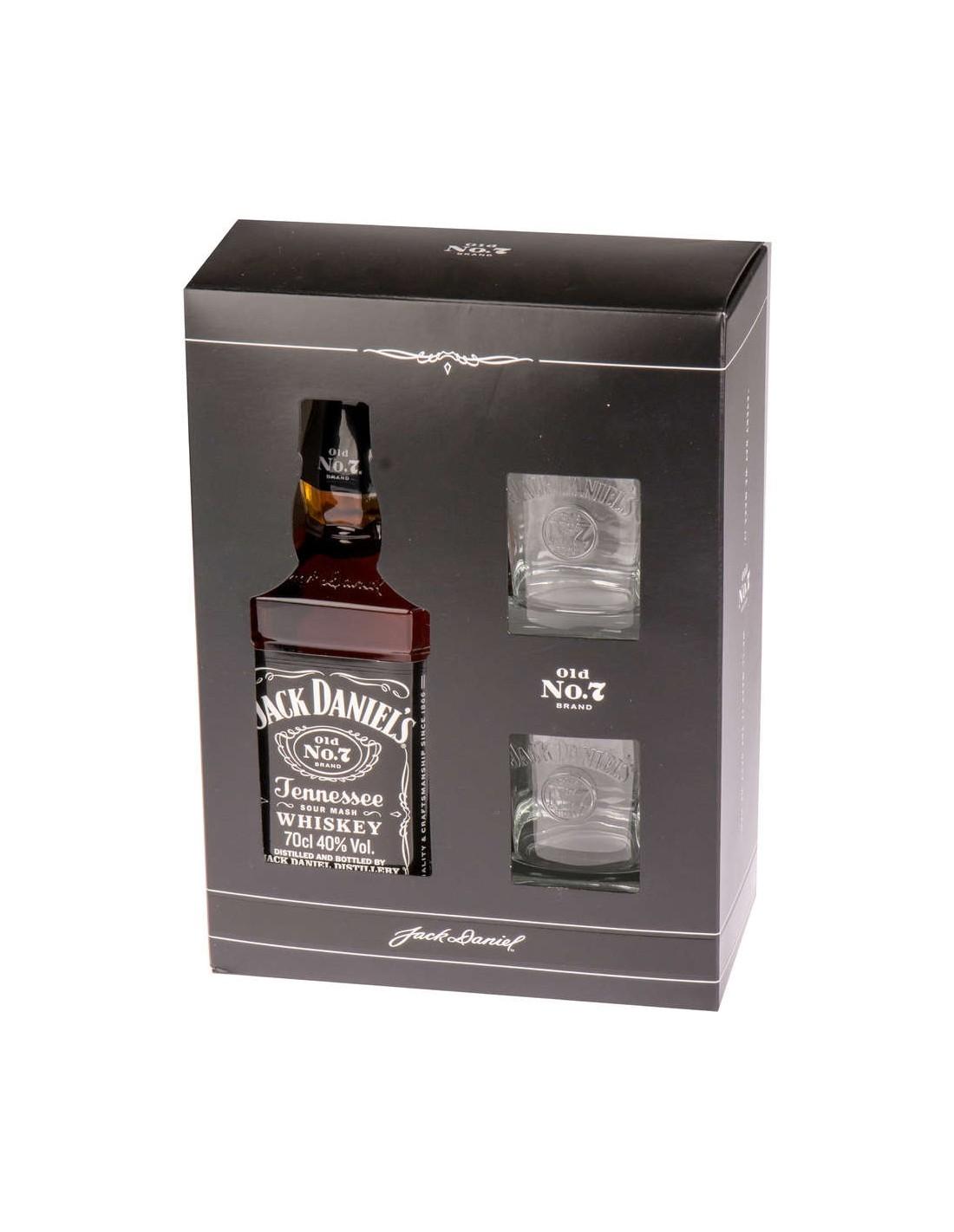 Whisky Bourbon Jack Daniel's + 2 Pahare, 40% alc., 0.7L, America