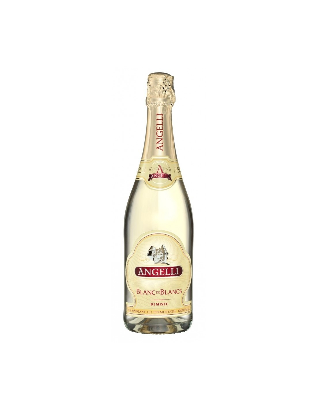 Vin spumant demisec Chardonnay, Angelli, 0.75L, 11.50% alc., Romania