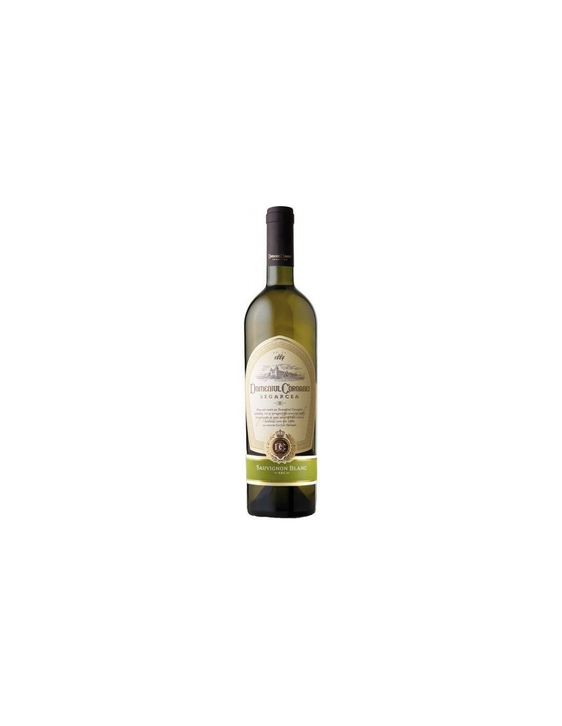 Vin alb sec, Sauvignon Blanc, Domeniul Coroanei Segarcea, 0.75L, 12% alc., Romania