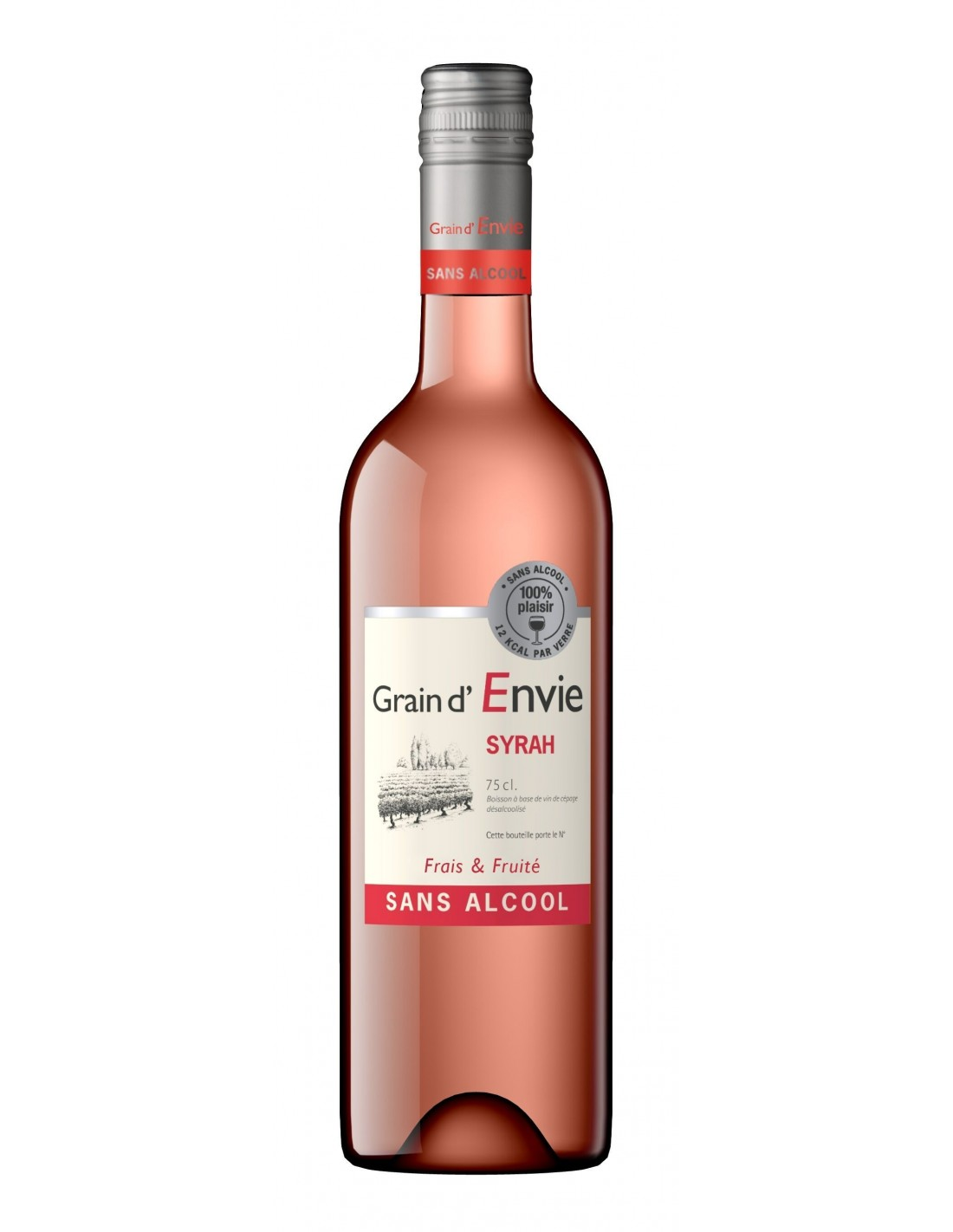 Vin roze, Syrah, Grain d'Envie Fara Alcool, 0.75L, 0% alc., Franta