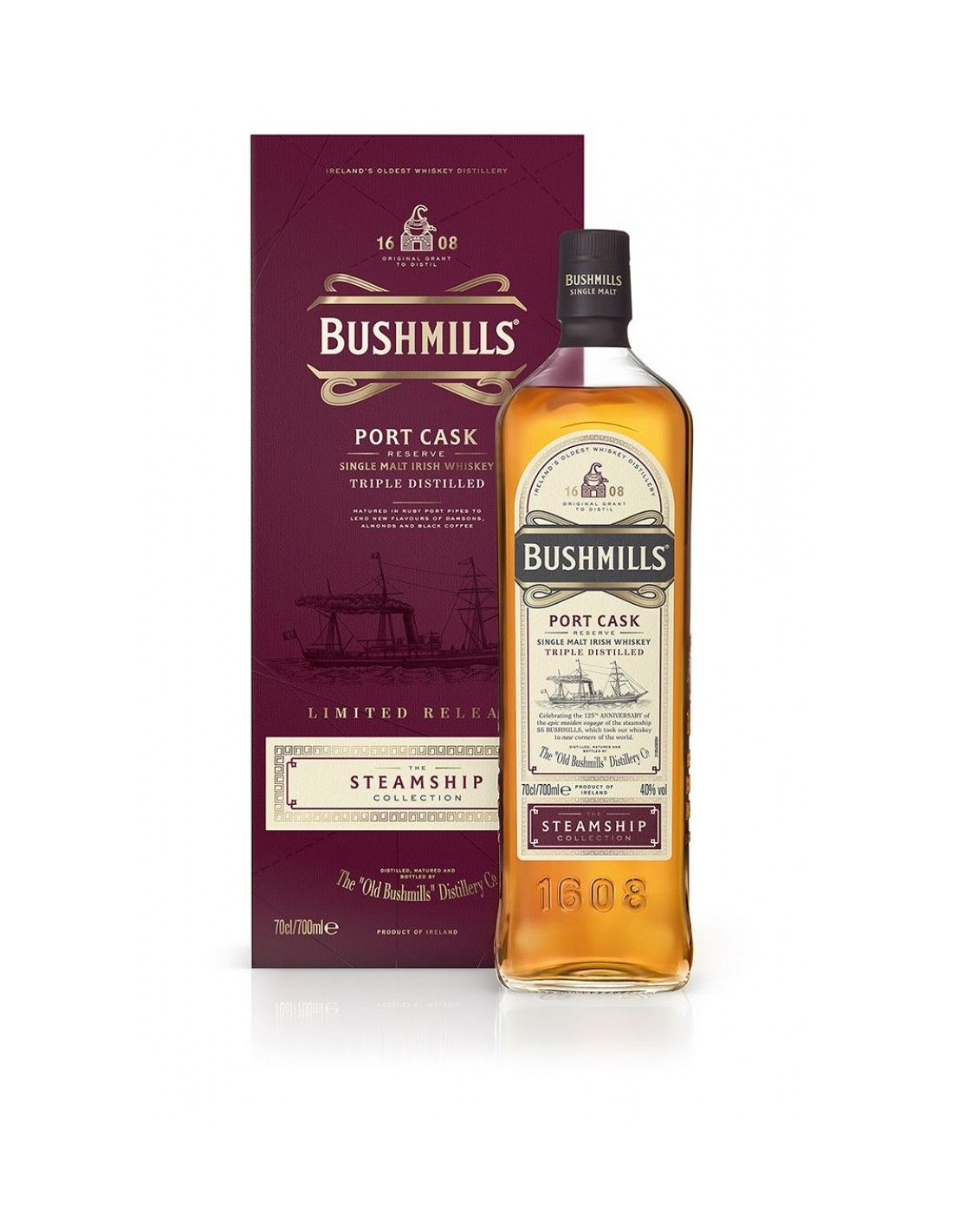 Whisky Bourbon Bushmills The Steamship Port Cask, 40% alc., 0.7L, Irlanda