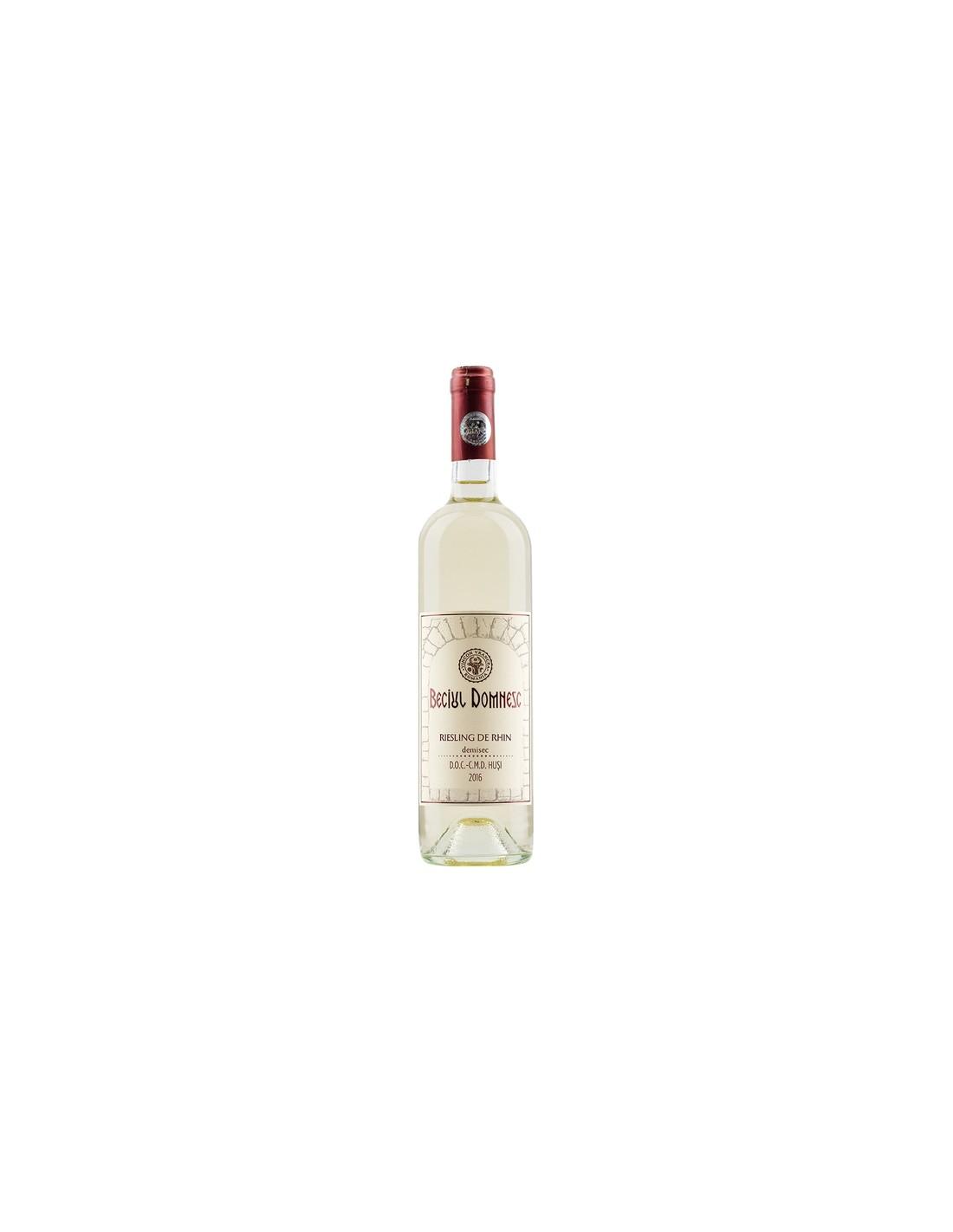 Vin alb demisec, Riesling, Beciul Domnesc Husi, 0.75L, 13.5% alc., Romania