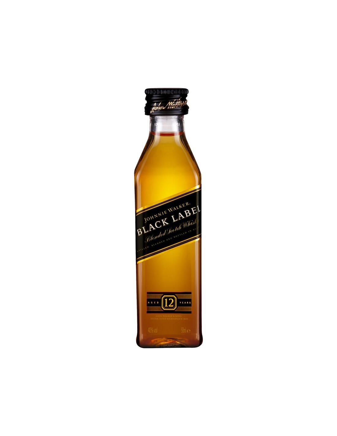 Whisky Johnnie Walker Black Label, 12 ani, 40% alc., 0.05L, Scotia