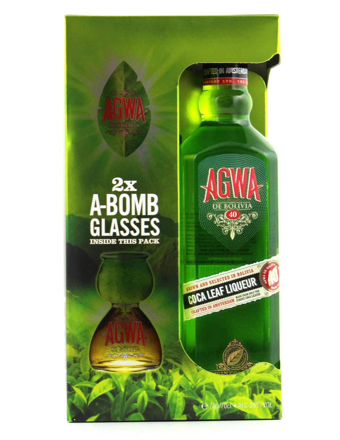 Lichior AGWA DE BOLIVIA + 2 GLASSES 0.7L