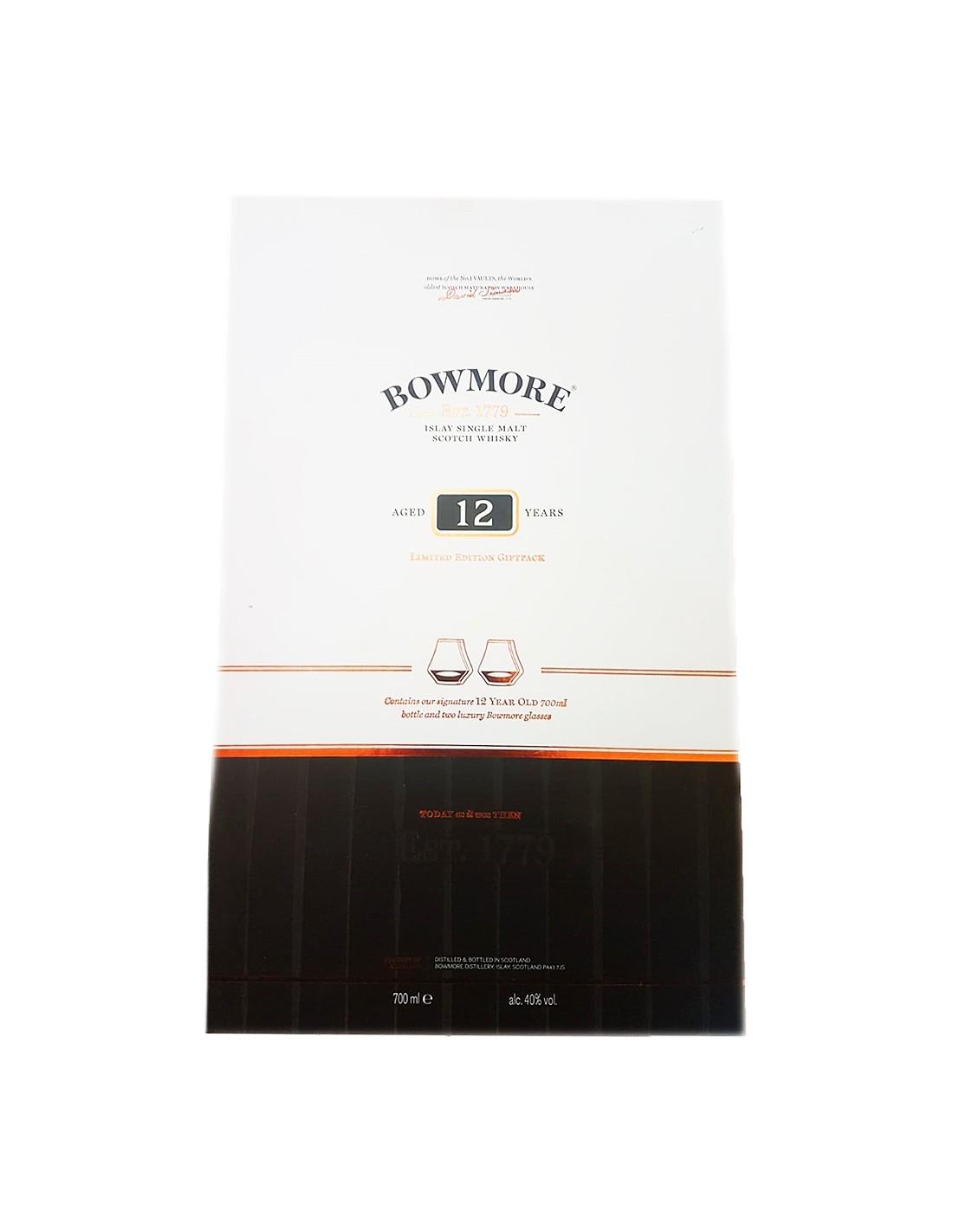 Whisky Bowmore + 2 Pahare, 12 ani, 40% alc., 0.7L, Scotia