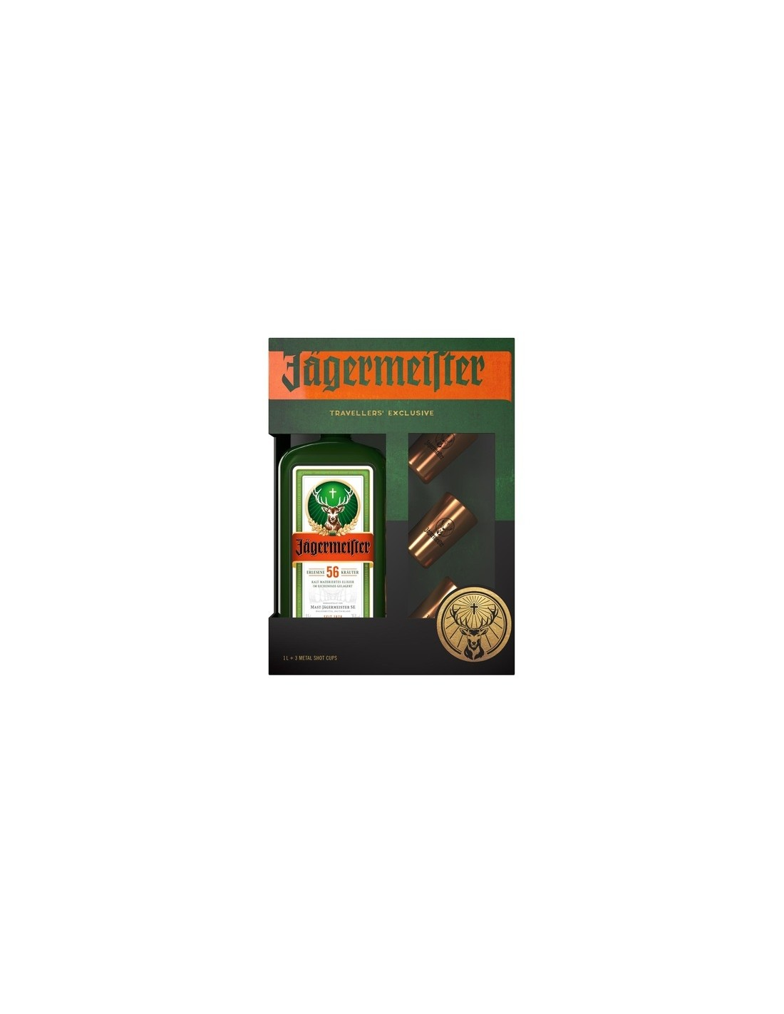 Lichior Jagermeister + 3 Metal Cup Shots 1L