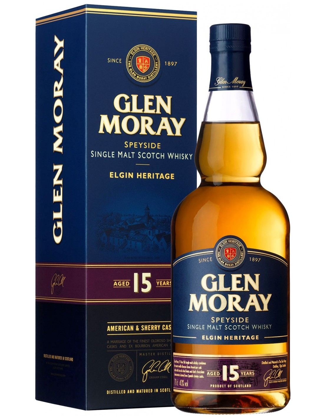 Whisky Single Malt Glen Moray, 15 ani, 40% alc., 0.7L, Scotia