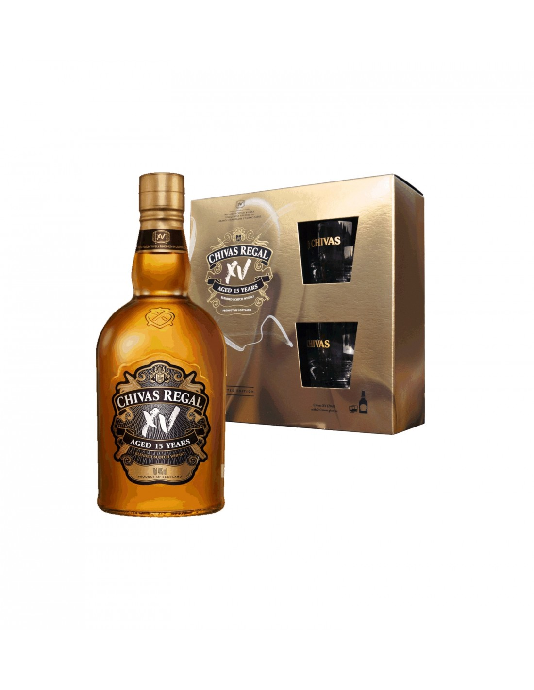 Whisky Chivas Regal + 2 Pahare, 15 ani, 40% alc., 0.7L, Scotia