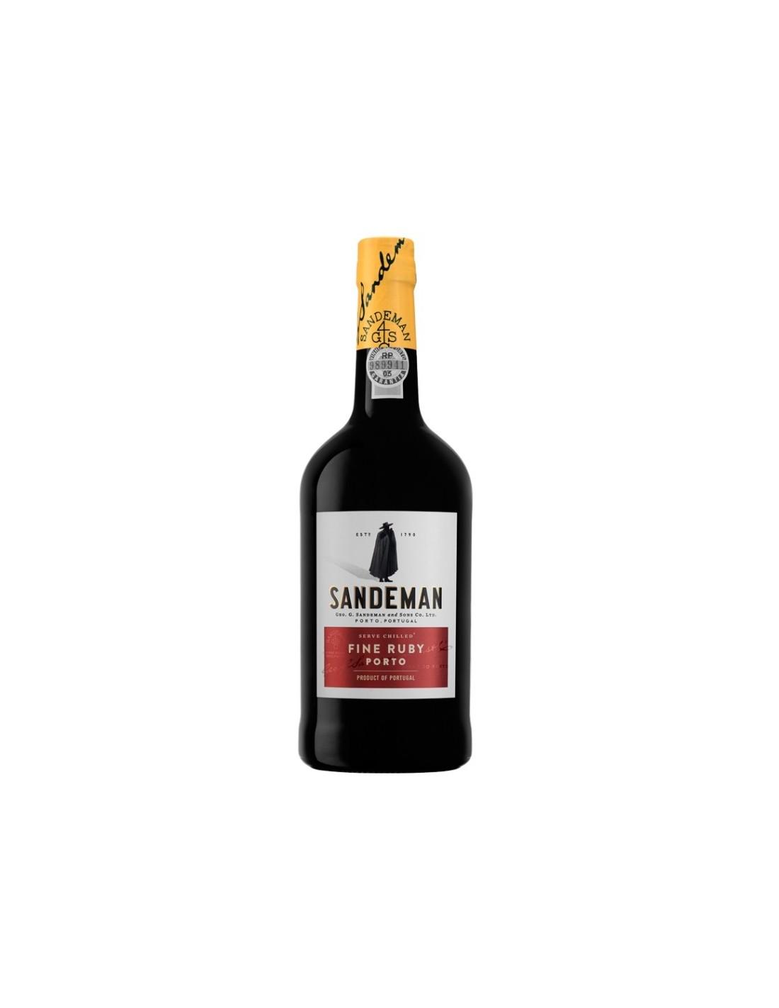 Vin porto rosu, Cupaj, Sandeman Ruby Porto, 0.75L, 19% alc., Portugalia