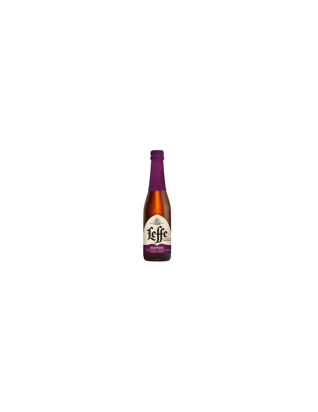 Bere bruna, nefiltrata Leffe Radieuse, 8.2% alc., 0.33L, Belgia