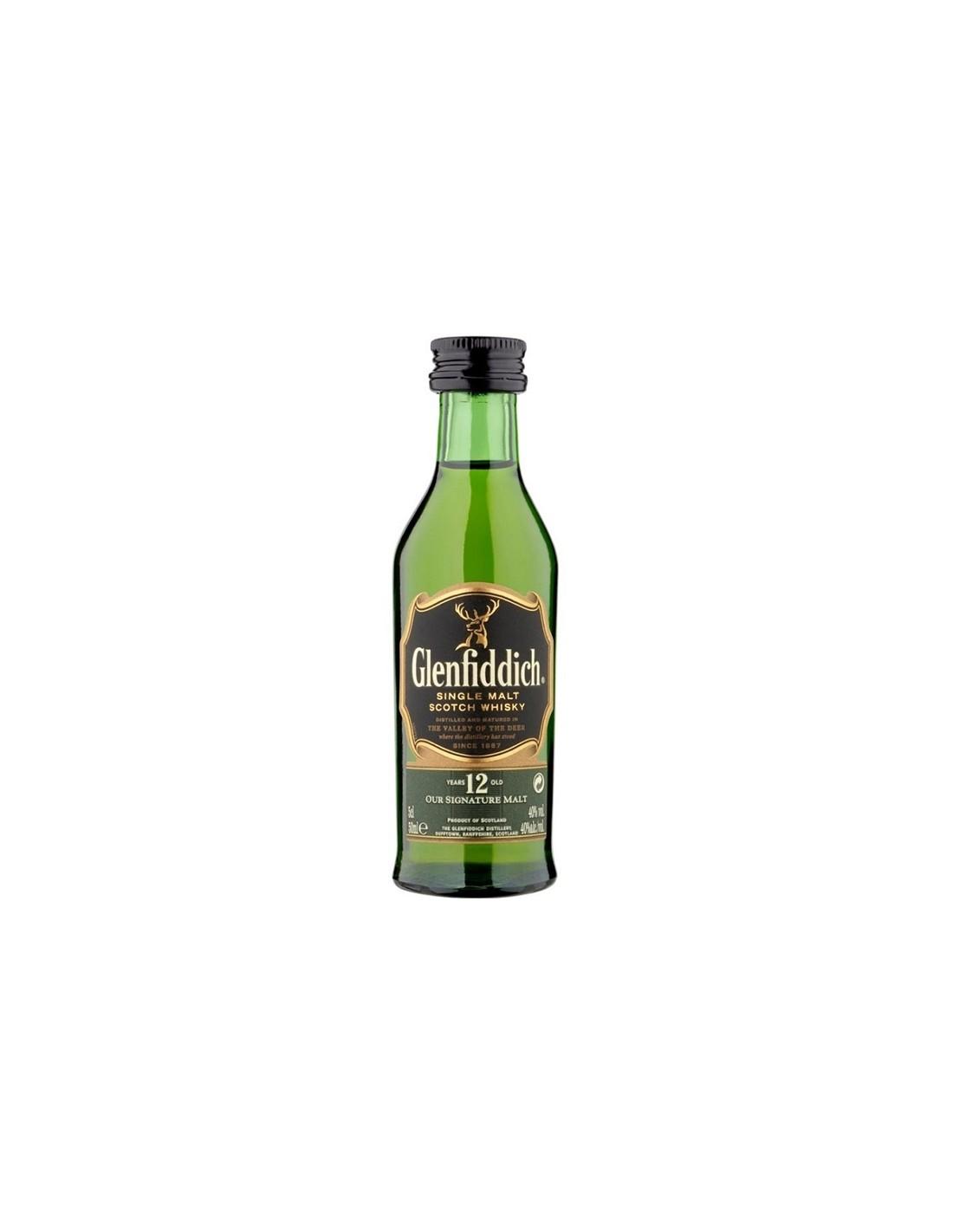 Whisky Glenfiddich, 12 ani, 40% alc., 0.05L, Scotia