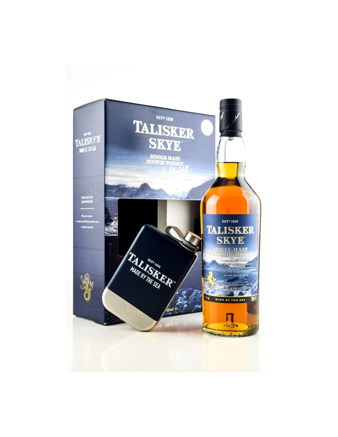 Whisky Single Malt Talisker Skye + butelcuta, 45.8% alc., 0.7L, Scotia
