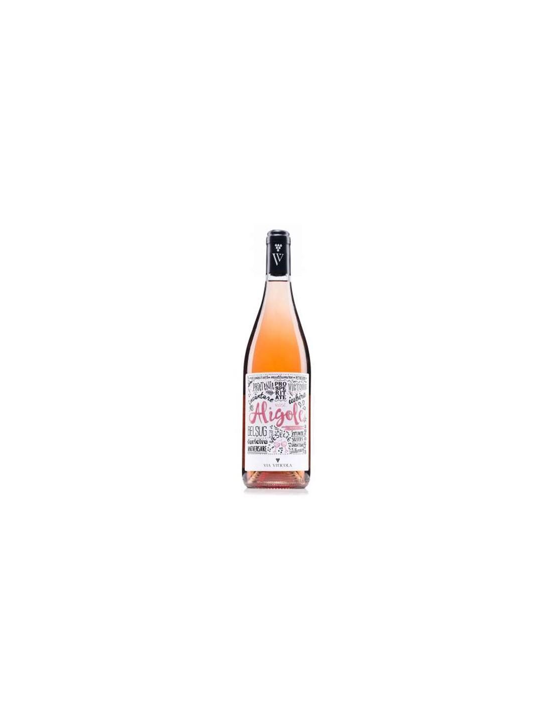 Vin roze demisec, Cupaj, Aligole Dealurile Dobrogei, 0.75L, 13.5% alc., Romania