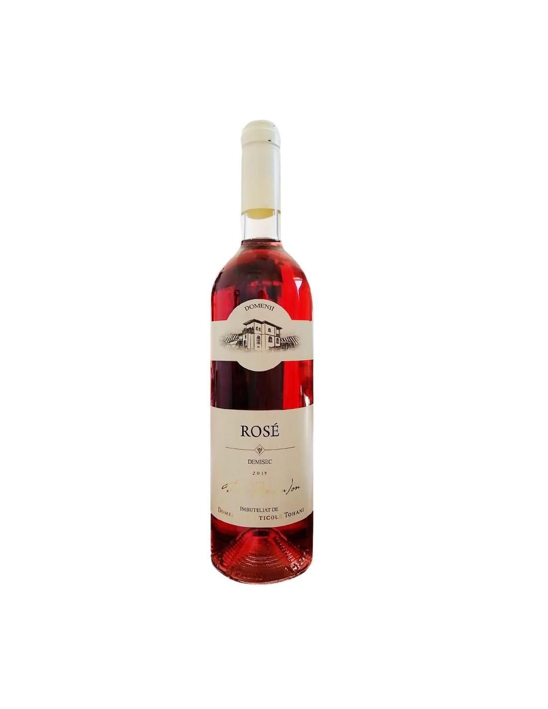 Vin roze demisec, Merlot, Domeniile Tohani Dealu Mare, 0.75L, 13% alc., Romania