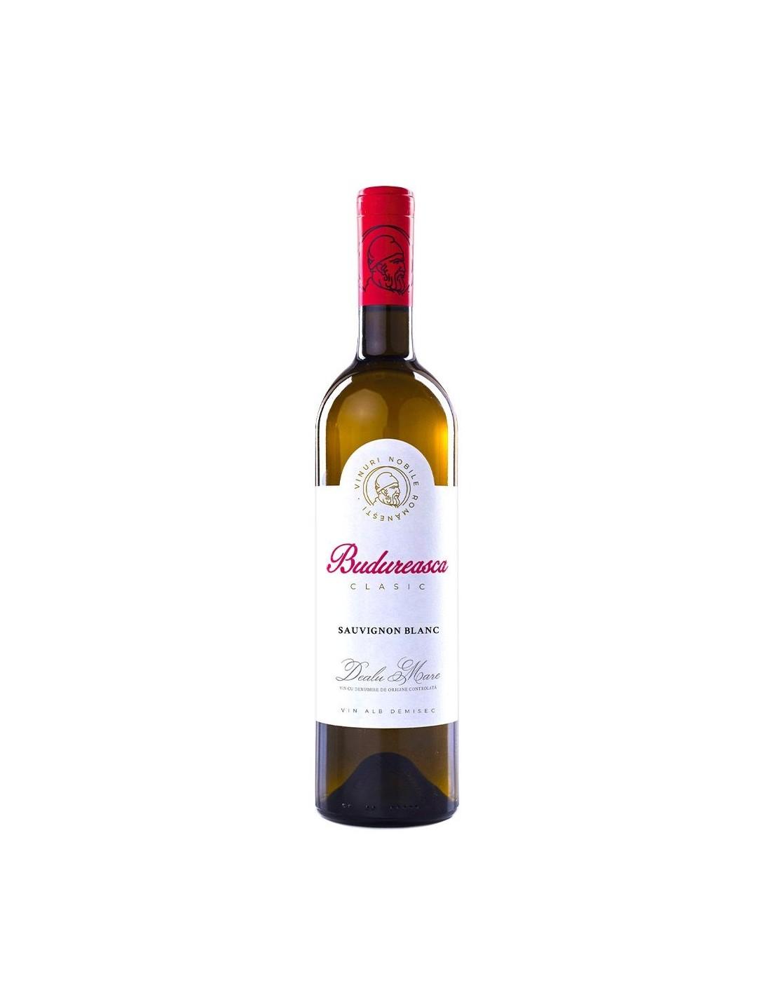 Vin alb demisec, Sauvignon Blanc, Budureasca Dealu Mare, 0.75L, 13.5% alc., Romania