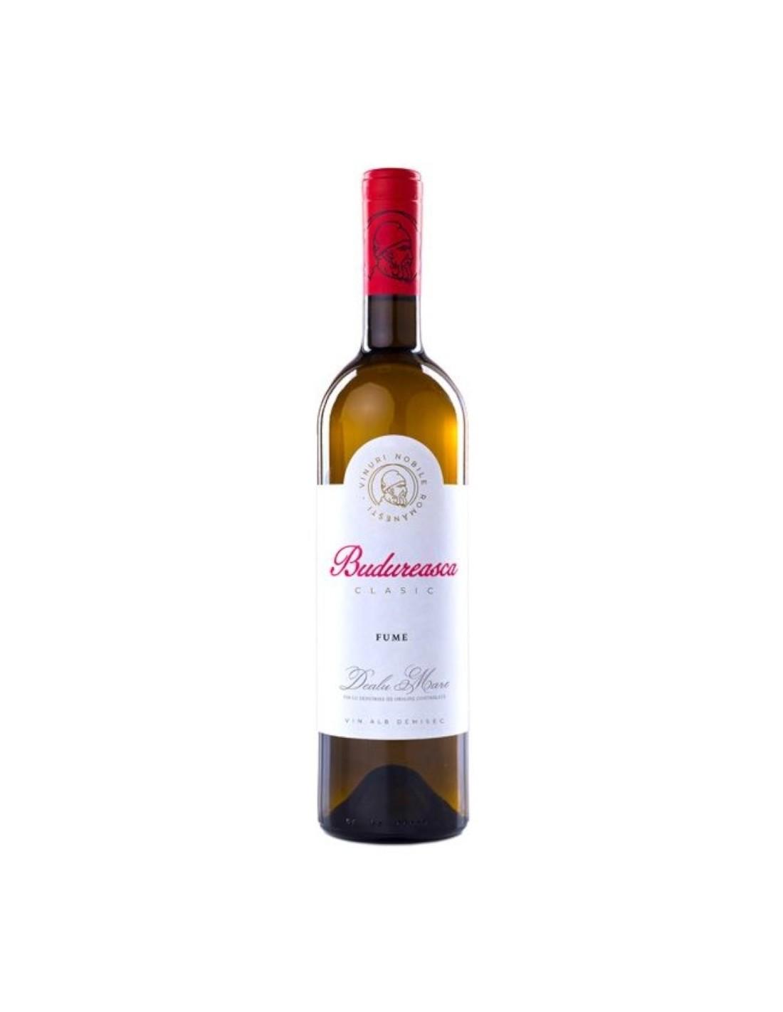 Vin alb demisec, Fume, Budureasca Dealu Mare, 0.75L, 13.5% alc., Romania