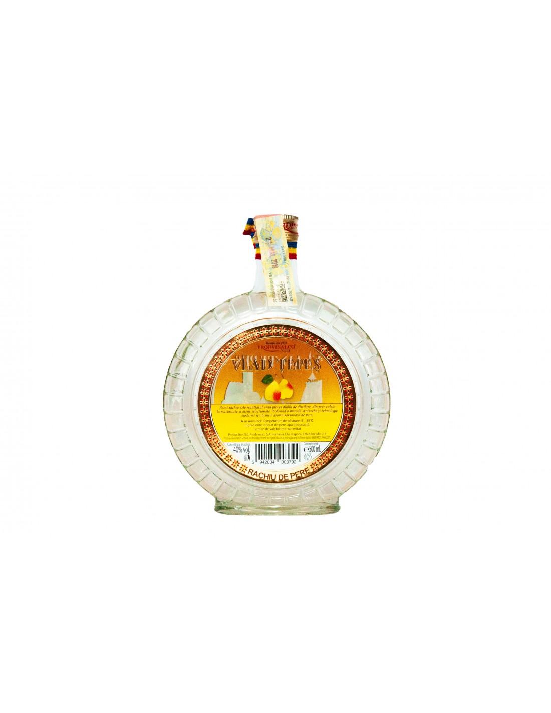 Rachiu de pere Vlad Tepes, 40% alc., 0.5L, Romania