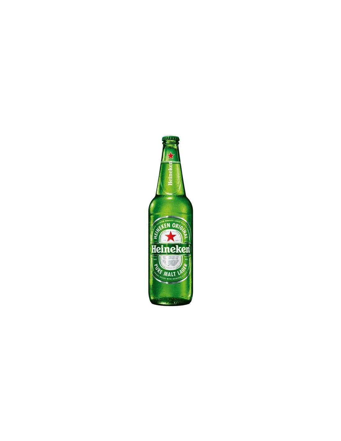 Bere blonda, filtrata Heineken Premium, 5% alc., 0.66L