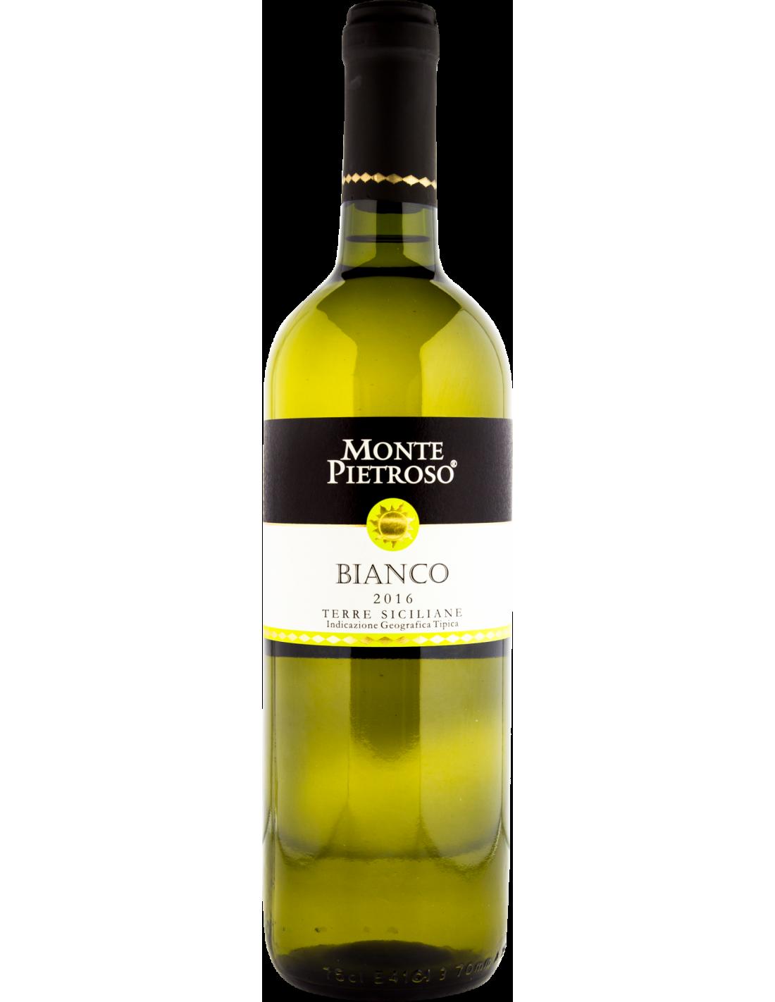 Vin alb, Catarratto - Chardonnay, Monte Pietroso Sicilia, 0.75L, 13.5% alc., Italia